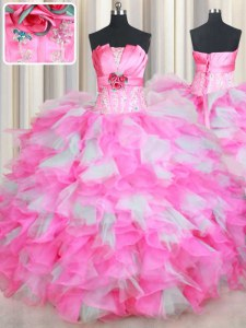New Style Organza Strapless Sleeveless Lace Up Beading and Ruffles and Hand Made Flower Sweet 16 Dress in Pink And White