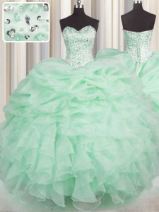 Colorful Apple Green Lace Up Quince Ball Gowns Beading and Ruffles Sleeveless Floor Length