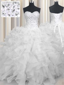 Floor Length Lace Up 15 Quinceanera Dress White for Military Ball and Sweet 16 and Quinceanera with Beading and Ruffles