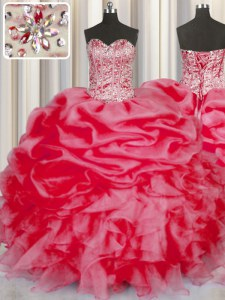 Coral Red Organza Lace Up Sweetheart Sleeveless Floor Length Quinceanera Dresses Beading and Ruffles and Pick Ups
