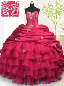 Adorable Rose Pink Lace Up Strapless Beading and Appliques and Ruffled Layers and Pick Ups Vestidos de Quinceanera Organza and Taffeta Sleeveless Brush Train