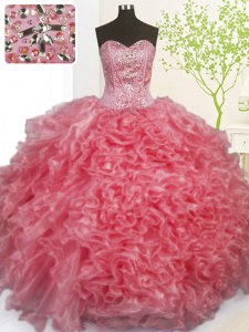 Organza Sleeveless Floor Length Quinceanera Dresses and Beading and Ruffles and Pick Ups