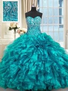 Fancy Sleeveless Beading and Ruffles Lace Up Quinceanera Gown with Teal Brush Train