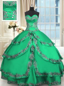 Taffeta Sweetheart Sleeveless Lace Up Beading and Embroidery and Ruffled Layers Quinceanera Dress in Turquoise