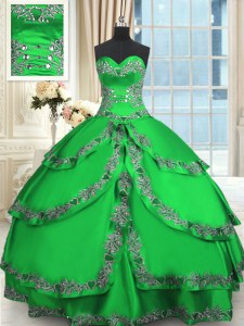 Attractive Sweetheart Sleeveless Taffeta 15 Quinceanera Dress Beading and Embroidery and Ruffled Layers Lace Up