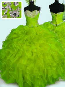 Yellow Green Ball Gowns Sweetheart Sleeveless Organza Floor Length Lace Up Beading and Ruffles Sweet 16 Dress