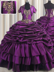 Chic Pick Ups With Train Purple Quinceanera Dresses Sweetheart Sleeveless Brush Train Lace Up
