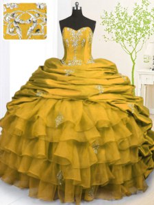 Luxurious Gold Sweet 16 Quinceanera Dress Military Ball and Sweet 16 and Quinceanera and For with Beading and Appliques and Ruffled Layers and Pick Ups Strapless Sleeveless Brush Train Lace Up