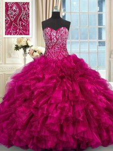 Dramatic Fuchsia Sleeveless Organza Brush Train Lace Up Vestidos de Quinceanera for Military Ball and Sweet 16 and Quinceanera