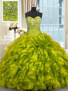 Lace Up Sweet 16 Quinceanera Dress Olive Green for Military Ball and Sweet 16 and Quinceanera with Beading and Ruffles Brush Train