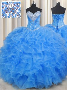 Dramatic Baby Blue Ball Gowns Beading and Ruffles Quinceanera Gowns Lace Up Organza Sleeveless Floor Length