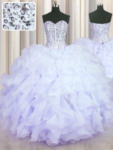 Lavender Ball Gowns Sweetheart Sleeveless Organza Floor Length Lace Up Beading and Ruffles Quinceanera Dress