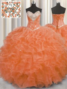 Orange Red Sleeveless Floor Length Beading and Ruffles Lace Up 15 Quinceanera Dress