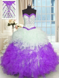 Exceptional White And Purple Sweetheart Neckline Beading and Ruffles Quinceanera Gown Sleeveless Lace Up