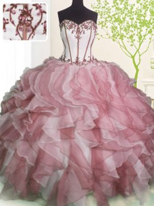 Sweetheart Sleeveless Organza Quinceanera Gowns Ruffles Lace Up