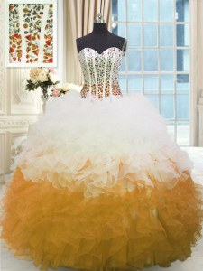 Multi-color Sweetheart Neckline Beading and Ruffles Ball Gown Prom Dress Sleeveless Lace Up