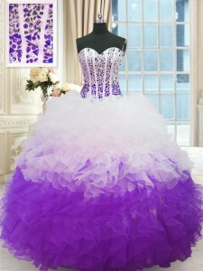 Sleeveless Organza Floor Length Lace Up Vestidos de Quinceanera in White And Purple with Beading and Ruffles