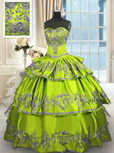 Yellow Green Sleeveless Floor Length Embroidery and Ruffled Layers Lace Up Quinceanera Dresses