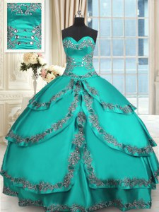 Taffeta Sleeveless Floor Length Quinceanera Gown and Beading and Embroidery and Ruffled Layers