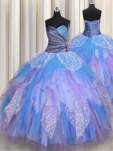 Perfect Multi-color Tulle Lace Up Sweetheart Sleeveless Floor Length Ball Gown Prom Dress Beading and Ruching