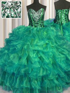Dazzling Turquoise Lace Up Quinceanera Gowns Beading and Ruffles Sleeveless Floor Length