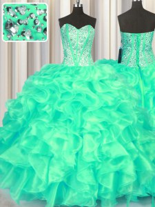 Beautiful Turquoise Sweetheart Neckline Beading and Ruffles Quinceanera Dress Sleeveless Lace Up