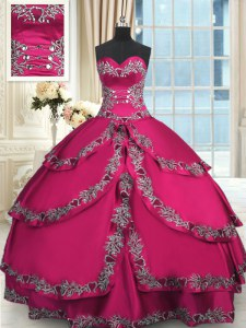 Dynamic Wine Red Ball Gowns Sweetheart Sleeveless Taffeta Floor Length Lace Up Beading and Embroidery and Ruffled Layers 15 Quinceanera Dress