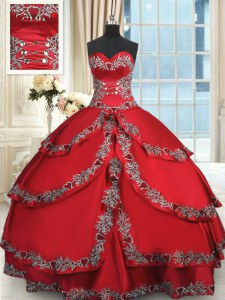 Wine Red Taffeta Lace Up Sweetheart Sleeveless Floor Length 15th Birthday Dress Beading and Embroidery and Ruffled Layers