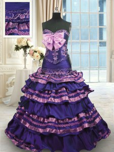 Romantic Ruffled Layers Sweep Train A-line Vestidos de Quinceanera Dark Purple Sweetheart Taffeta Sleeveless With Train Lace Up