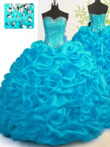 Aqua Blue Lace Up Quince Ball Gowns Beading and Ruffles Sleeveless With Brush Train