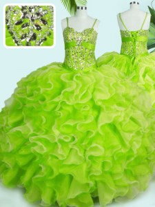 Floor Length Yellow Green Sweet 16 Dresses Organza Sleeveless Beading and Ruffles