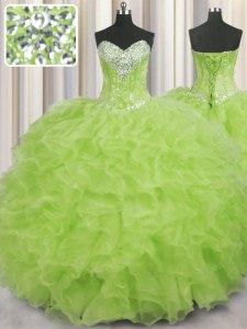 Charming Ball Gowns Sweet 16 Dress Yellow Green Sweetheart Organza Sleeveless Floor Length Lace Up
