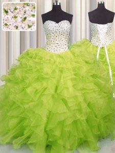 Yellow Green Ball Gowns Beading and Ruffles Quinceanera Gowns Lace Up Organza Sleeveless Floor Length