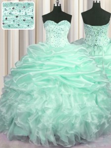 Sleeveless Organza With Train Sweep Train Lace Up Quinceanera Gowns in Apple Green with Beading and Ruffles and Pick Ups