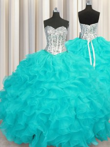 Charming Aqua Blue Sweetheart Lace Up Beading and Ruffles Vestidos de Quinceanera Sleeveless