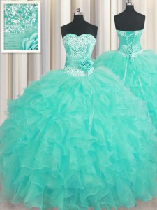 Fashion Handcrafted Flower Floor Length Ball Gowns Sleeveless Aqua Blue Quinceanera Gowns Lace Up
