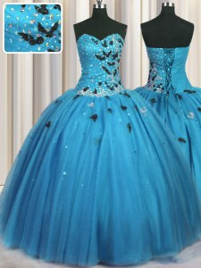 High End Baby Blue Lace Up Quinceanera Dress Beading and Appliques Sleeveless Floor Length