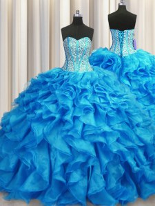Visible Boning Baby Blue Ball Gowns Sweetheart Sleeveless Organza Brush Train Lace Up Beading and Ruffles Sweet 16 Dress