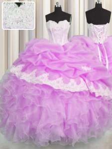 Lilac Sleeveless Beading and Appliques and Ruffles and Pick Ups Floor Length Quinceanera Gown
