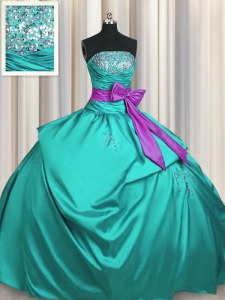 Custom Designed Turquoise Strapless Lace Up Beading and Ruching and Bowknot Quince Ball Gowns Sleeveless