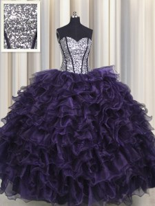 Sequins Visible Boning Floor Length Ball Gowns Sleeveless Purple Sweet 16 Dress Lace Up