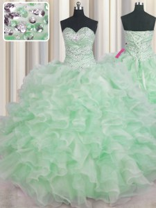 Sleeveless Floor Length Beading and Ruffles Lace Up Sweet 16 Dress with Apple Green