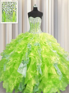 Decent Visible Boning Sweetheart Sleeveless Sweet 16 Dresses Floor Length Beading and Ruffles and Sequins Yellow Green Organza and Sequined