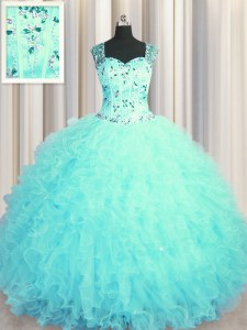See Through Zipper Up Aqua Blue Sleeveless Tulle Zipper Ball Gown Prom Dress for Military Ball and Sweet 16 and Quinceanera