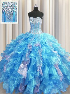 High Class Visible Boning Baby Blue Ball Gowns Sweetheart Sleeveless Organza and Sequined Floor Length Lace Up Beading and Ruffles and Sequins Ball Gown Prom Dress