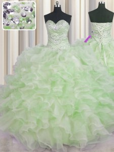 Custom Made Green Sweetheart Neckline Beading and Ruffles Sweet 16 Quinceanera Dress Sleeveless Lace Up