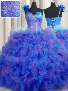 Dramatic One Shoulder Handcrafted Flower Sleeveless Floor Length Beading and Ruffles and Hand Made Flower Lace Up Quinceanera Gowns with Multi-color