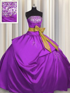 Purple Sleeveless Beading and Bowknot Floor Length Sweet 16 Quinceanera Dress
