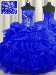 Royal Blue Lace Up Sweet 16 Dresses Beading and Ruffles and Pick Ups Sleeveless Floor Length