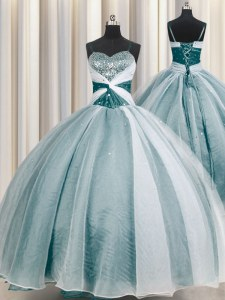 New Arrival Spaghetti Straps Beading and Ruching Quinceanera Dresses Teal Lace Up Half Sleeves Floor Length